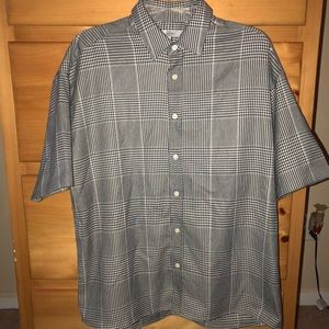Oversized Houndstooth Button-Down Shirt